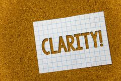 Text sign showing Clarity. Conceptual photo Certainty Precision Purity Comprehensibility Transparency Accuracy Cork background not. Ebook paper ideas messages royalty free stock images