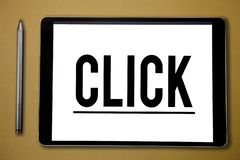 Text sign showing Click. Conceptual photo Act of pressing a button on a mouse similar device Sharp short sound.  royalty free stock image