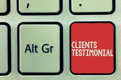 Text sign showing Clients Testimonial. Conceptual photo Formal Statement Testifying Candid Endorsement by Others.  stock image