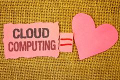 Text sign showing Cloud Computing. Conceptual photo Online Information Storage Virtual Media Data Server Text pink torn note equal royalty free stock image
