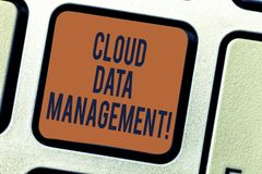 Text sign showing Cloud Data Management. Conceptual photo A technique to analysisage data across cloud platforms. Keyboard key Intention to create computer royalty free stock images