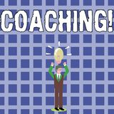 Text sign showing Coaching. Conceptual photo Prepare Enlightened Cultivate Sharpening Encourage Strenghten Businessman. Text sign showing Coaching. Business royalty free illustration