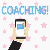 Text sign showing Coaching. Conceptual photo Prepare Enlightened Cultivate Sharpening Encourage Strenghten Human Hand. Text sign showing Coaching. Business photo vector illustration