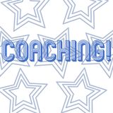Text sign showing Coaching. Conceptual photo Prepare Enlightened Cultivate Sharpening Encourage Strenghten Repetition of. Text sign showing Coaching. Business royalty free illustration