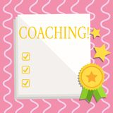 Text sign showing Coaching. Conceptual photo Prepare Enlightened Cultivate Sharpening Encourage Strenghten White Blank. Text sign showing Coaching. Business royalty free illustration