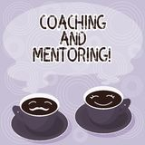 Text sign showing Coaching And Mentoring. Conceptual photo capacity development process to achieve goals Sets of Cup Saucer for. His and Hers Coffee Face icon royalty free illustration