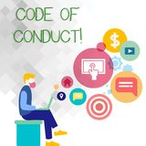 Text sign showing Code Of Conduct. Conceptual photo Follow principles and standards for business integrity Man Sitting. Text sign showing Code Of Conduct stock illustration