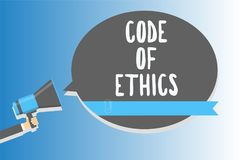 Text sign showing Code Of Ethics. Conceptual photo Moral Rules Ethical Integrity Honesty Good procedure Man holding megaphone loud vector illustration