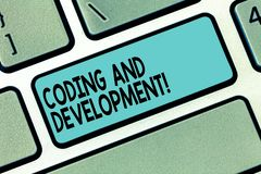 Text sign showing Coding And Development. Conceptual photo To program or create a software or any application Keyboard royalty free stock image