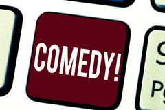 Text sign showing Comedy. Conceptual photo Professional entertainment Jokes Sketches Make audience laugh Humour.  royalty free illustration