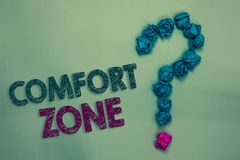 Text sign showing Comfort Zone. Conceptual photo A situation where one feels safe or at ease have Control Crumpled papers forming. Question mark several tries stock images