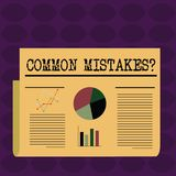 Text sign showing Common Mistakes question. Conceptual photo repeat act or judgement misguided or wrong Colorful Layout vector illustration