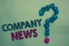 Text sign showing Company News. Conceptual photo Latest Information and happening on a business Corporate Report Crumpled papers f. Orming question mark several stock photography