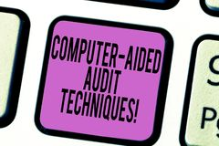 Text sign showing Computer Aided Audit Techniques. Conceptual photo Using computer to automate IT audit process Keyboard. Key Intention to create computer stock images