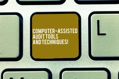 Text sign showing Computer Assisted Audit Tools And Techniques. Conceptual photo Modern auditing applications Keyboard stock photography