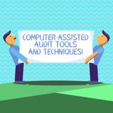 Text sign showing Computer Assisted Audit Tools And Techniques. Conceptual photo Modern auditing applications Two Men. Standing Carrying Rectangular Blank Panel stock illustration
