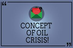 Text sign showing Concept Of Oil Crisis. Conceptual photo Petroleum prices dropping lower monetary value Open Envelope royalty free illustration