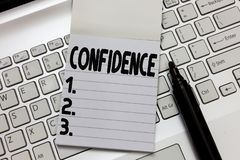 Text sign showing Confidence. Conceptual photo Have faith in Rely on someone or something Telling secrets.  stock photo