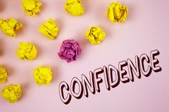 Text sign showing Confidence. Conceptual photo Never ever doubting your worth, inspire and transform yourself written on plain Pin. Text sign showing Confidence stock photo