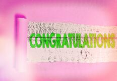 Text sign showing Congratulations. Conceptual photo a congratulatory expression usually used in plural form Rolled