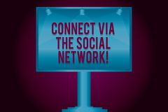 Text sign showing Connect Via The Social Network. Conceptual photo Online communications networking advance Blank Lamp. Lighted Color Signage Outdoor Ads photo stock illustration