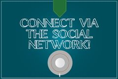 Text sign showing Connect Via The Social Network. Conceptual photo Online communications networking advance Coffee Cup. Saucer Top View photo Reflection on royalty free illustration