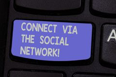 Text sign showing Connect Via The Social Network. Conceptual photo Online communications networking advance Keyboard key. Intention to create computer message royalty free stock images