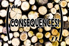 Text sign showing Consequences. Conceptual photo Result Outcome Output Upshot Difficulty Ramification Conclusion Wooden. Text sign showing Consequences. Business royalty free stock photo