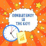 Text sign showing Consistency Is The Key. Conceptual photo by Breaking Bad Habits and Forming Good Ones. Text sign showing Consistency Is The Key. Business royalty free illustration
