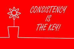 Text sign showing Consistency Is The Key. Conceptual photo by Breaking Bad Habits and Forming Good Ones. Text sign showing Consistency Is The Key. Business vector illustration