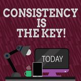 Text sign showing Consistency Is The Key. Conceptual photo by Breaking Bad Habits and Forming Good Ones Arrangement of. Text sign showing Consistency Is The Key stock illustration