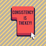 Text sign showing Consistency Is The Key. Conceptual photo by Breaking Bad Habits and Forming Good Ones Direction to. Text sign showing Consistency Is The Key stock illustration