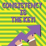 Text sign showing Consistency Is The Key. Conceptual photo by Breaking Bad Habits and Forming Good Ones photo of Hand. Text sign showing Consistency Is The Key vector illustration