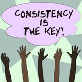 Text sign showing Consistency Is The Key. Conceptual photo by Breaking Bad Habits and Forming Good Ones Multiracial. Text sign showing Consistency Is The Key vector illustration
