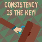 Text sign showing Consistency Is The Key. Conceptual photo by Breaking Bad Habits and Forming Good Ones Rushing. Text sign showing Consistency Is The Key royalty free illustration