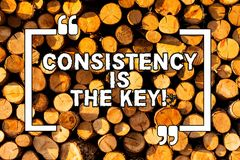 Text sign showing Consistency Is The Key. Conceptual photo by Breaking Bad Habits and Forming Good Ones Wooden. Text sign showing Consistency Is The Key stock illustration