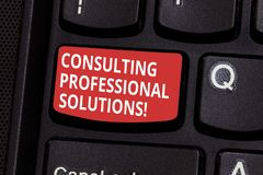 Text sign showing Consulting Professional Solutions. Conceptual photo Looking for expert to develop solutions Keyboard royalty free stock photo
