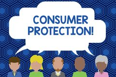 Text sign showing Consumer Protection. Conceptual photo Fair Trade Laws to ensure Consumers Rights Protection Five. Text sign showing Consumer Protection royalty free illustration
