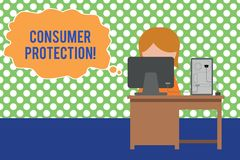 Text sign showing Consumer Protection. Conceptual photo Fair Trade Laws to ensure Consumers Rights Protection Young. Text sign showing Consumer Protection stock illustration