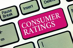 Text sign showing Consumer Ratings. Conceptual photo feedback given by clients after buying product or service.  stock photography