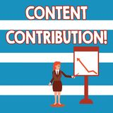 Text sign showing Content Contribution. Conceptual photo contribution of information to any digital media Businesswoman. Text sign showing Content Contribution vector illustration