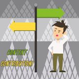 Text sign showing Content Contribution. Conceptual photo contribution of information to any digital media Man Confused. Text sign showing Content Contribution vector illustration