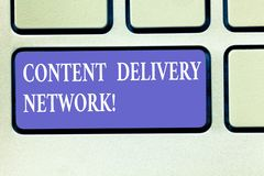 Text sign showing Content Delivery Network. Conceptual photo Geographically dispersed network of proxy servers Keyboard royalty free stock photography