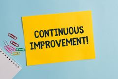 Text sign showing Continuous Improvement. Conceptual photo Ongoing Effort to Advance Never ending changes Plain. Text sign showing Continuous Improvement royalty free stock photo