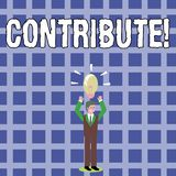 Text sign showing Contribute. Conceptual photo Strategy Decision Teamworking For Achiving Common Successful Goal. Text sign showing Contribute. Business photo stock illustration
