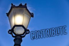 Text sign showing Contribute. Conceptual photo Strategy Decision Teamworking For Achiving Common Successful Goal Light post blue s. Ky enlighten ideas message royalty free stock photo