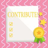 Text sign showing Contribute. Conceptual photo Strategy Decision Teamworking For Achiving Common Successful Goal White. Text sign showing Contribute. Business royalty free illustration