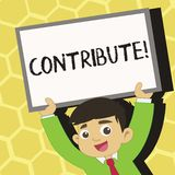 Text sign showing Contribute. Conceptual photo Strategy Decision Teamworking For Achiving Common Successful Goal Young. Text sign showing Contribute. Business stock illustration