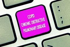 Text sign showing Copd Chronic Obstructive Pulmonary Disease. Conceptual photo Lung disease Difficulty to breath.  royalty free stock images