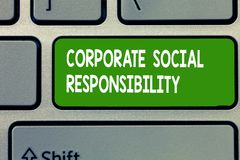Text sign showing Corporate Social Responsibility. Conceptual photo Internal corporate policy and Ethic strategy.  royalty free stock images